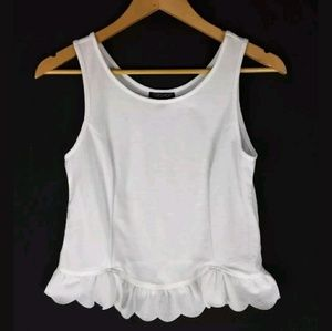 Topshop Scalloped Hem White Tank Top